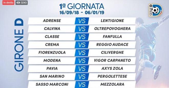 Calendario Classe Prima.Calendario Serie D Modena Carpaneto Alla Prima
